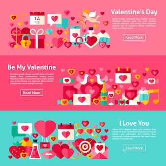 Valentine day web horizontal banners. flat style vector illustration for website header. love objects.