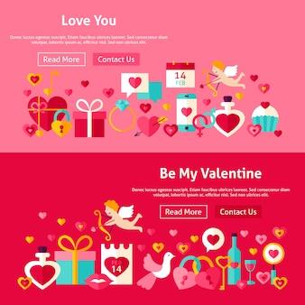 Баннеры веб-сайта дня святого валентина. векторные иллюстрации для веб-заголовка. люблю современный плоский дизайн.