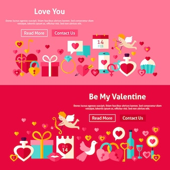 Valentine day website banners. vector illustration for web header. love modern flat design.