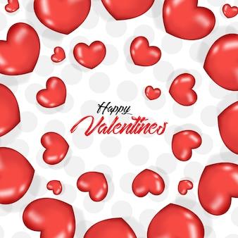 3dの現実的な心臓の風船とバレンタインデー