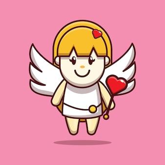 愛の棒を保持しているかわいいキューピッドの女の子のバレンタインデザイン
