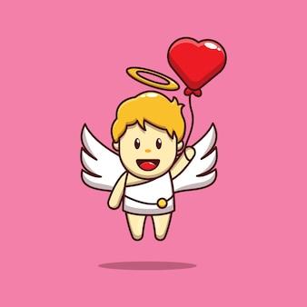 Валентина дизайн милый амур держит воздушный шар сердца