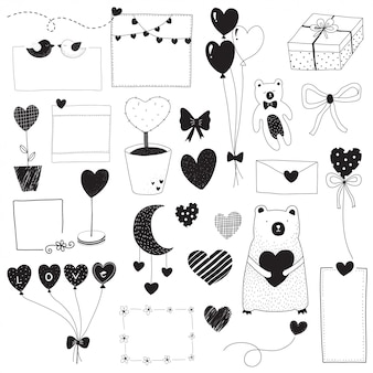 Valentine doodle set black and white draw