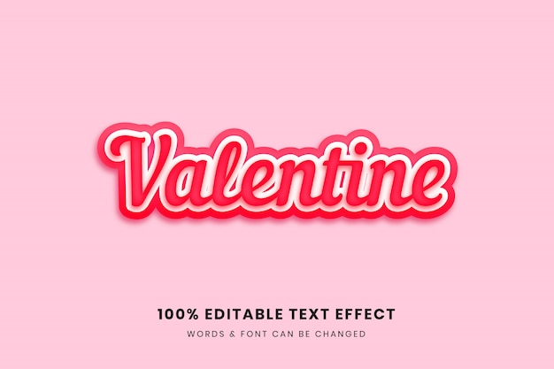 Valentine  editable text effect