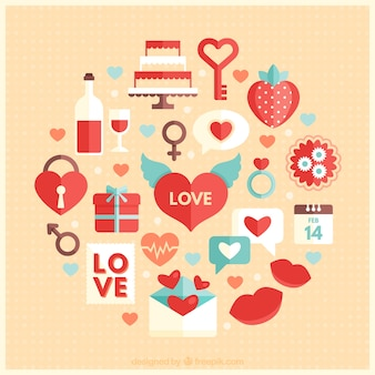 Valentine elements collection Free Vector