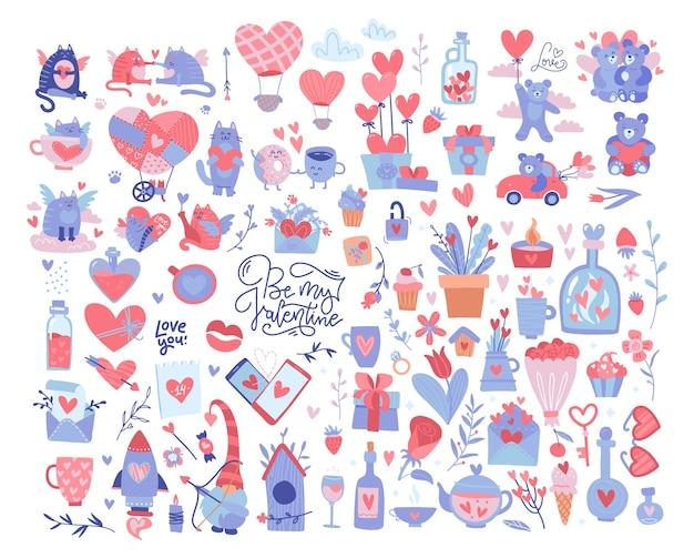 Набор элементов валентина. множество разнообразных романтических предметов. большая коллекция ко дню святого валентина