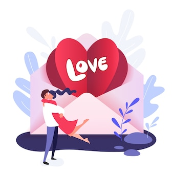 Valentine in the envelope and the words love. valentine day greeting card with hugging funny couple
