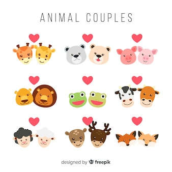 Valentine face animal couple collection