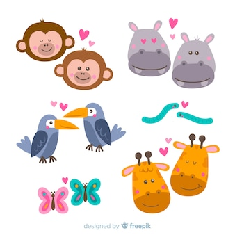 Valentine faces of animal couple pack