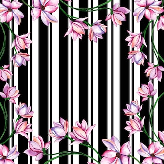 Valentine floral watercolor strip background