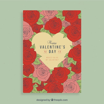 Valentine flyer design with red and pink flowers