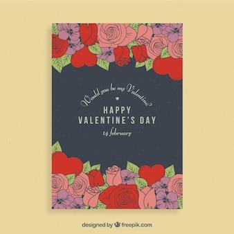 Valentine flyer design with roses