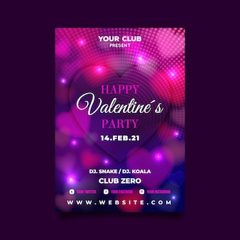 Valentine flyer template with blurred hearts and lights