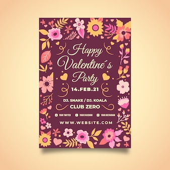 Valentine flyer template with floral design