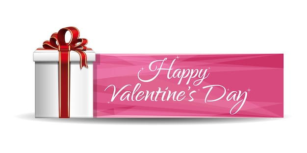 Valentine gift box on a background of pink banner. greeting inscription - happy valentines day.