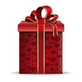 ハートで飾られたバレンタインギフトボックス。ロマンチックなイベントのための赤いリボンと弓が付いたヴィンテージの段ボール箱。白い背景で隔離のリアルなイラスト