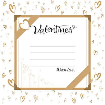 Valentine gift card banner template with hand script calligraphy.