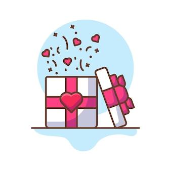 발렌타인 선물 아이콘 삽화입니다.
