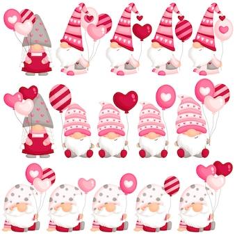Валентин гном держит воздушный шар