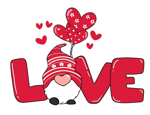 Валентин гном с любовным письмом и воздушным шаром в виде сердца, красный валентинский гном мультфильм