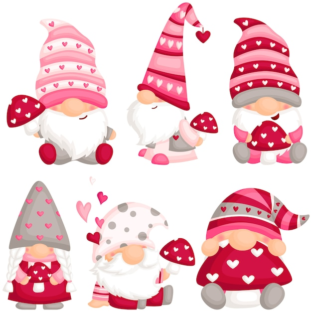 Valentine gnome with mushroom