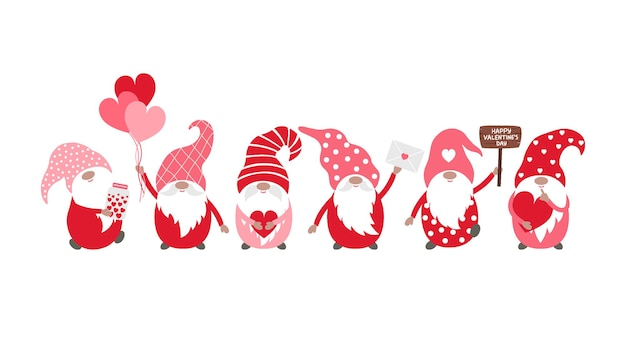 Valentine gnomes vector illustration isolated on a white background