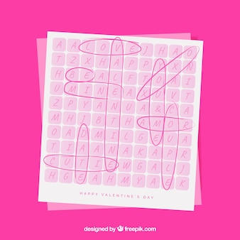 Valentine greeting card of crossword