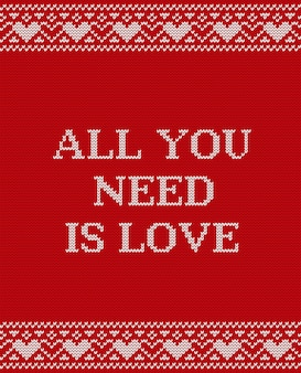 Valentine greeting card,  knit design,