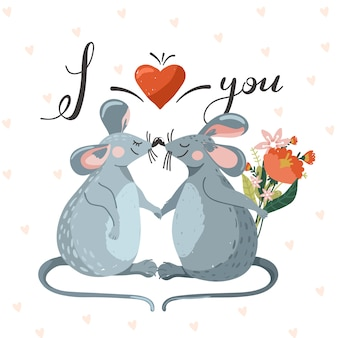 Valentine greeting card with couple of cute mouse in love.