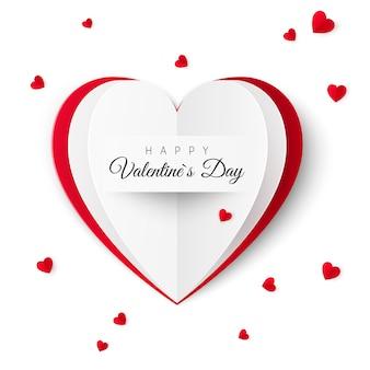 Валентинка с надписью счастливого дня святого валентина. концепция поздравительной открытки в виде бумажного сердца. иллюстрация на белом фоне