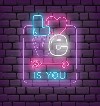 Valentine greeting in neon effect style vector illustration