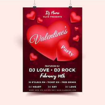 Valentine hearts invitation flyer