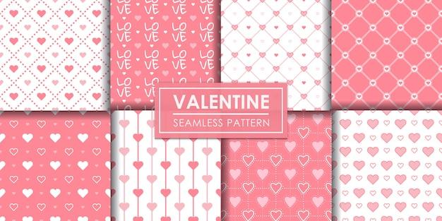 Valentine hearts seamless pattern set, decorative wallpaper.