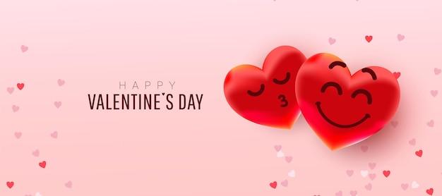 Валентина сердца формируют воздушные шары с милыми лицами на розовом.