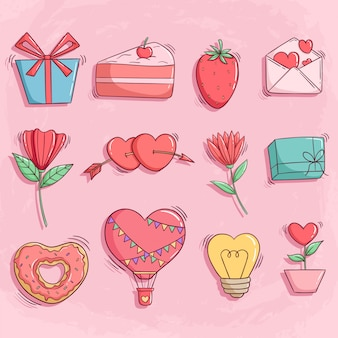Valentine icons or elements with colorful doodle style on pink