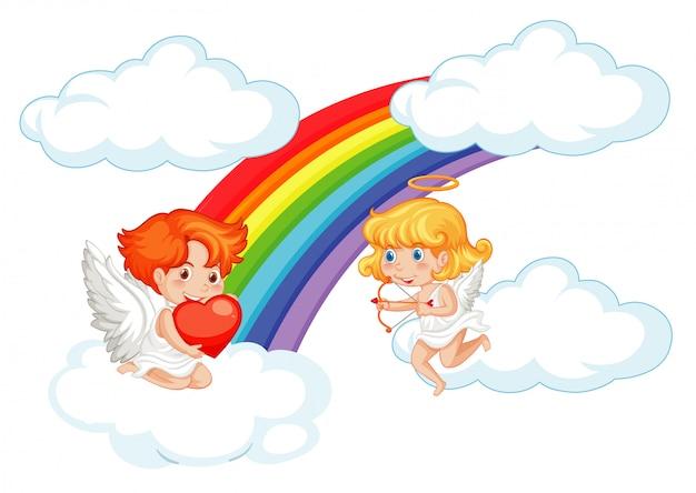 空を飛んでいるキューピッドとバレンタインイラスト