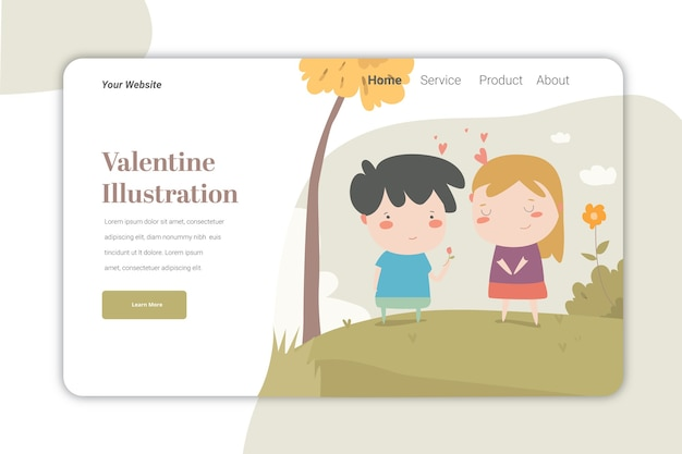 발렌타인 데이 ilustration 방문 페이지 템플릿 귀여운 caracter