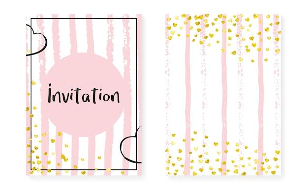 발렌타인 초대입니다. 검은 튄 입자. 핑크 분산 요소입니다. 새해 입자 세트입니다. 황금 축제 섬유. 스트라이프 가리 카드. 화이트 디자인. 핑크 발렌타인 초대장