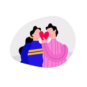 Valentine kissing people couple