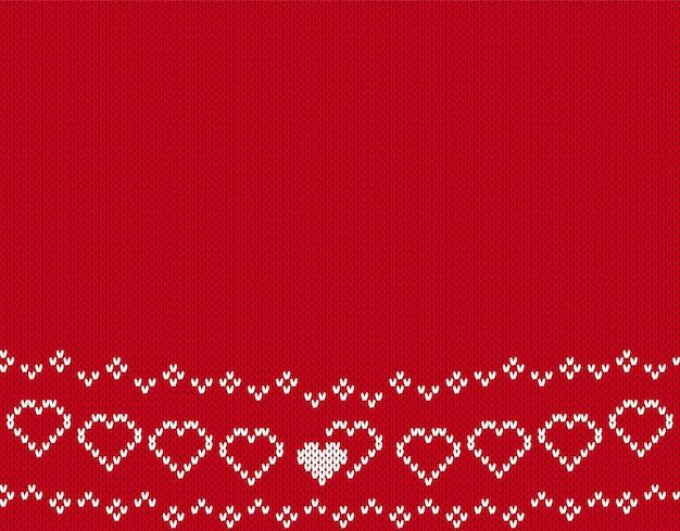 Валентина вязать бесшовные модели. фон с сердечками. красная вязаная текстура.