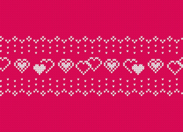 Valentine knit seamless pattern with hearts. pink knitted texture.