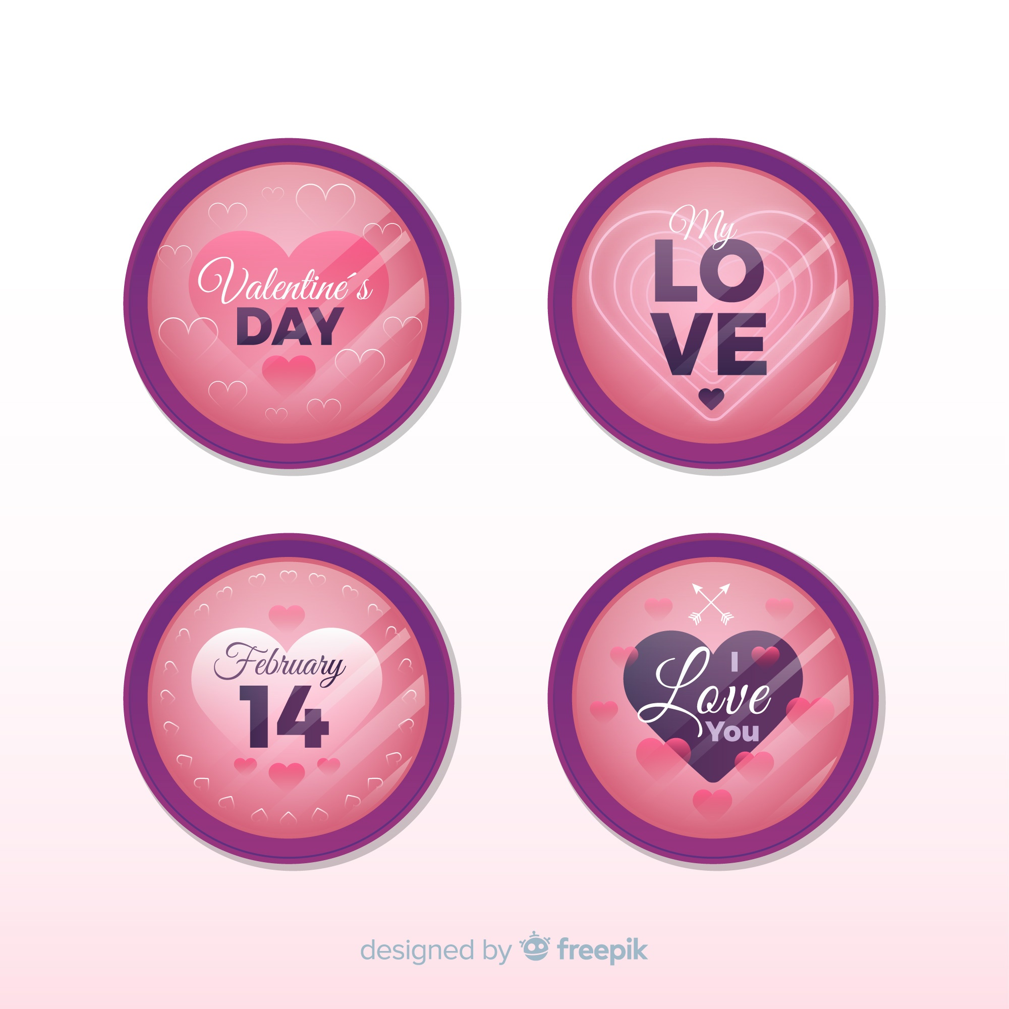 Valentine label collection with reflection