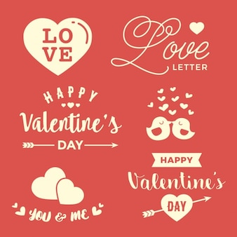 Valentine labels on a red background