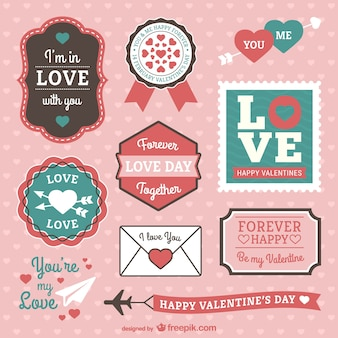 Valentine labels and stickers