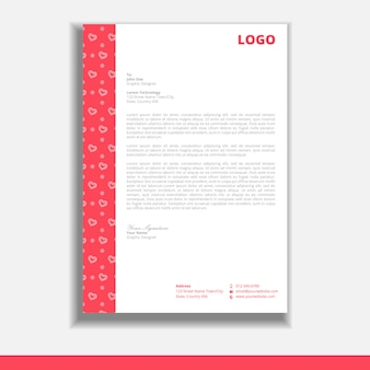 Valentine letterhead design template