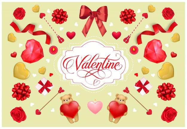 빈티지 엽서 발렌타인 문자