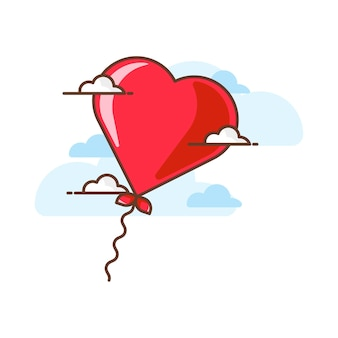 Valentine love balloon  icon illustrations. valentine icon concept white isolated.