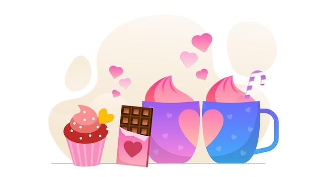 Valentine love dessert beverages
