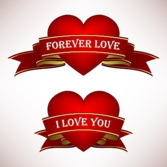 Валентина сердце любви с лентами