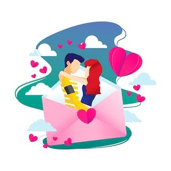 Valentine love letter illustration
